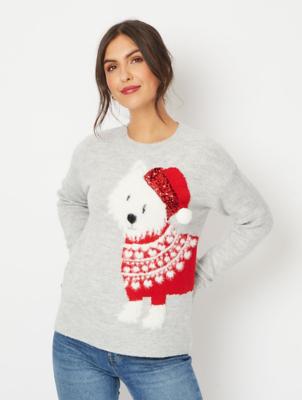 Grey Textured Dog Christmas Jumper