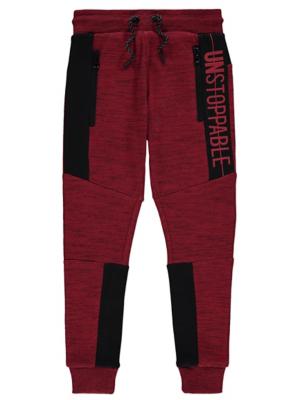 Red Marl Contrast Slogan Skinny Joggers