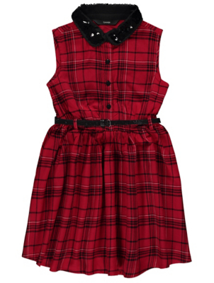 Red Check Sequin Collar Belted Dress