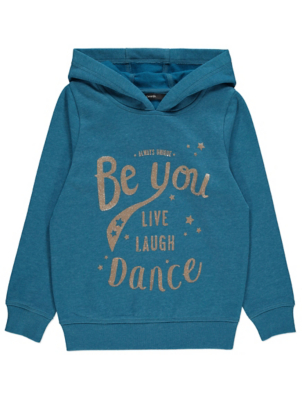 Navy Glitter Be You Slogan Hoodie