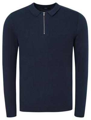 Navy Zip Neck Polo Shirt