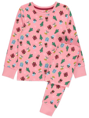 Pink Printed Family Christmas Pyjamas