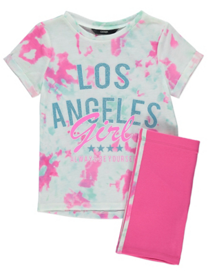 White Tie Dye LA Slogan T-Shirt and Shorts Outfit