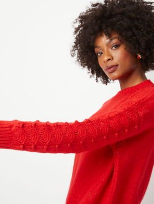 Red Bobble Sleeve Knitted Jumper