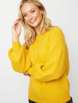 Ochre Cable Knit Ribbed Jumper