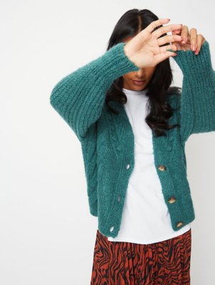 Teal Green Bobble Cable Detail Cardigan