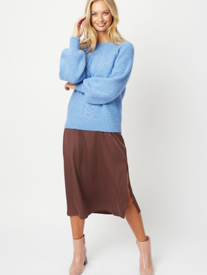 Pale Blue Cable Knit Ribbed Jumper