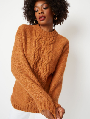 Brown Cable Knit Centre Jumper