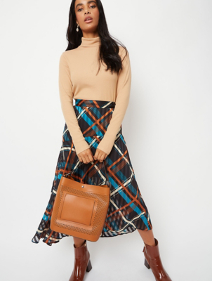 Teal Check Asymmetrical Midi Skirt