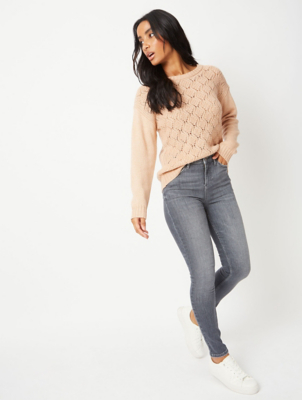 Grey Washout Denim Skinny Jeans