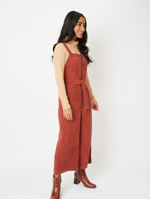 Brown Cord Zip Front Belted Jumpsuit