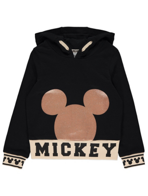 Disney Mickey Mouse Black Glittering Hoodie