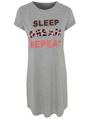 Grey Marl Dream Slogan Nightdress