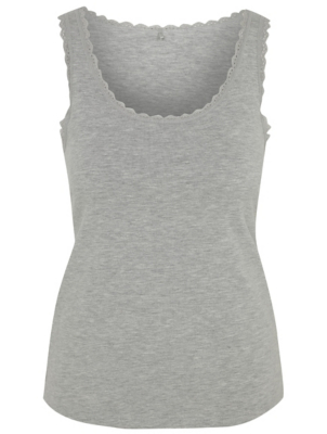 Grey Marl Scalloped Trim Pyjama Vest Top