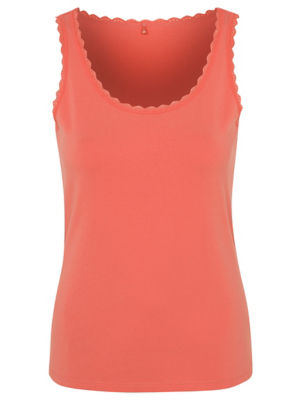 Coral Scalloped Trim Pyjama Vest Top