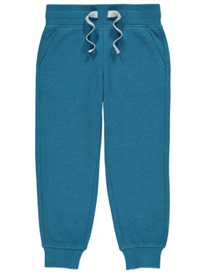 Blue Fleece Lined Ribbed Cuff Joggers