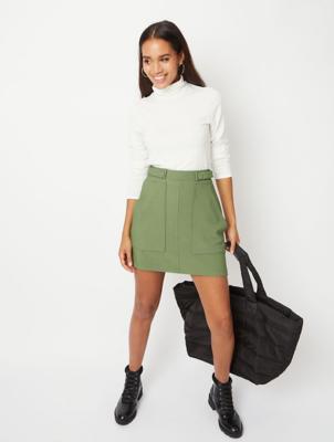 Khaki Ribbed Button Detail Mini Skirt