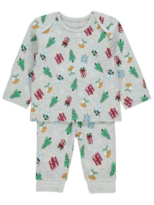 Grey Printed Family Christmas Pyjamas