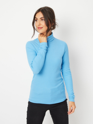 Blue Ribbed Roll Neck Top