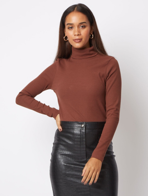 Brown Ribbed Roll Neck Top