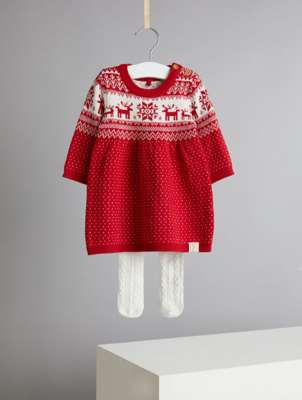 Billie Faiers Red Fairisle Soft Knit Dress and Tights Outfit