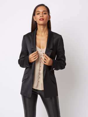 Black Satin Look Trim Formal Blazer