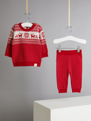 Billie Faiers Red Fairisle Soft Knit Jumper and Joggers Outfit
