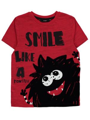 Halloween Red Monster Slogan T-Shirt