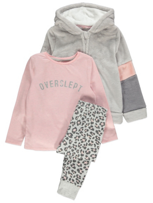 Pink Star Print Dressing Gown and Pyjamas 3 Piece Set