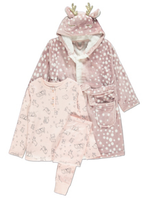 Pink Reindeer Dressing Gown and Pyjamas 3 Piece Set