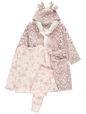 Pink Reindeer Dressing Gown and Pyjamas 3 Piece Set
