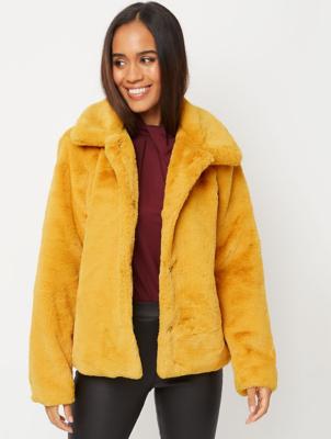 Ochre Faux Fur Short Jacket