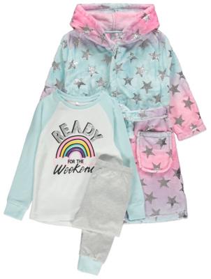 Pink Star Print Dressing Gown and Pyjamas 3 Piece Set