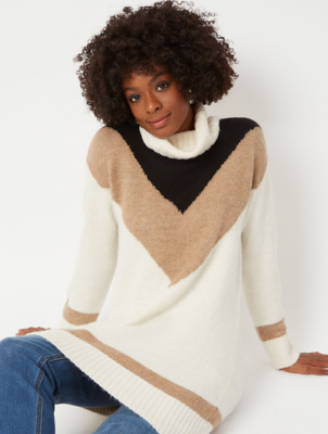 Cream Chevron Roll Neck Jumper