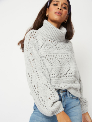 Grey Open Weave Roll Neck Cropped Jumper