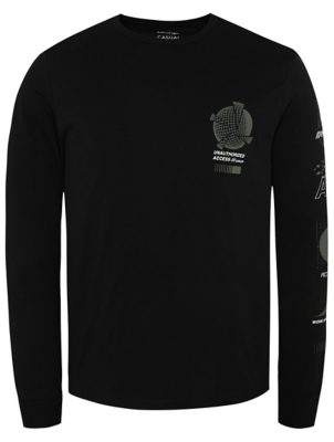 Black Long Sleeved Graphic Top