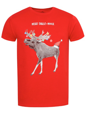 Red Reindeer Slogan Christmas T-Shirt