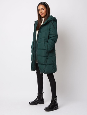 Dark Green Hooded Padded Longline Coat