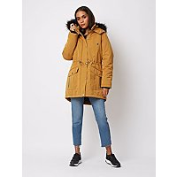 Yellow Ochre Padded Faux Fur Lined Parka by Asda