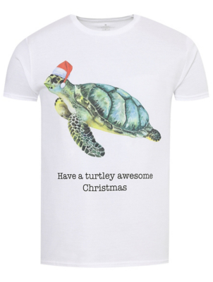 White Turtle Slogan Christmas T-Shirt