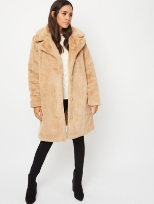 Beige Longline Faux Fur Lined Jacket