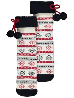 Cream Fairisle Terry Socks