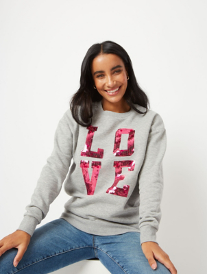 Tickled Pink Sequin Slogan Sweatshirt