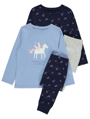 Navy Unicorn Slogan Pyjamas 2 Pack