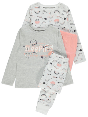 Grey Rainbow Slogan Pyjamas 2 Pack