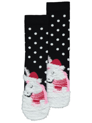 Polka Dot Fluffy Unicorn Christmas Socks