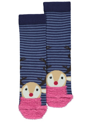 Striped Fluffy Reindeer Christmas Socks