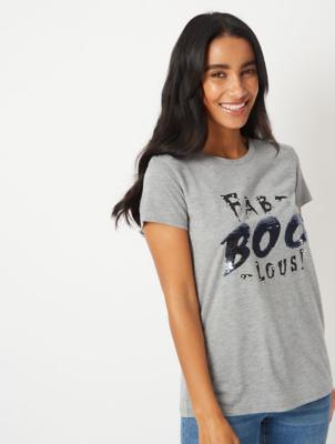 Halloween Grey Fabboolous Sequin T-Shirt