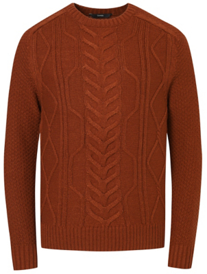 Burnt Orange Chunky Cable Knit Crew Neck Jumper