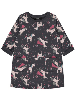 Grey Unicorn Print Sweatshirt Dress